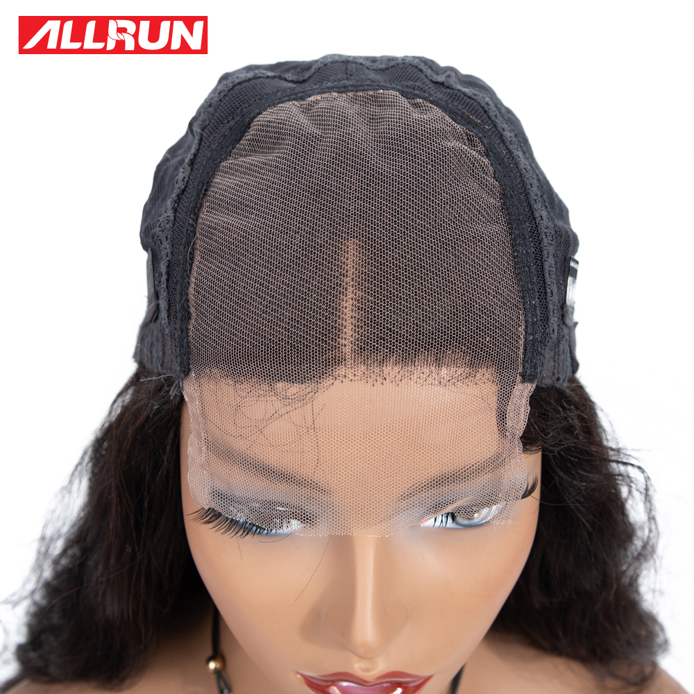 HTB1B23lXND1gK0jSZFsq6zldVXaL Allrun 4*4 Lace Closure Wigs With Baby Hair Brazilian Body Wave Lace Human Hair Wigs For Women Non-Remy Hair Low Ratio 130%