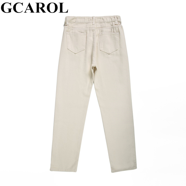 GCAROL 2019 Spring Fall Elastic Waist Retro Old Pants Ankle Length First Love Loose Vintage Straight Pants Plus Size 25-32 5