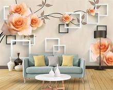 beibehang Custom photo wallpaper modern embossed rose art fashion for walls 3 d papel de parede 3d behang