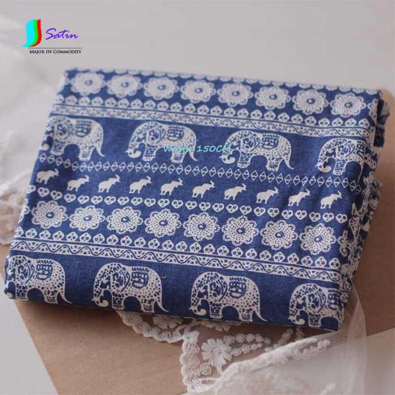 Blau Gedruckt Elefanten Muster Leinenstoff Für Vorhang/tischdecke ...