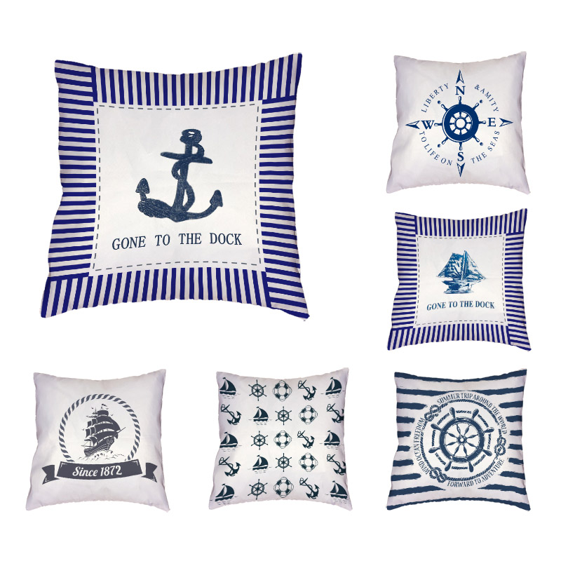 Морской Мир Дизайн Чехлы звезды якорь руль Para Almofada Кемпинг кролик волновой точки лук Главная Кровать Диван украшения
