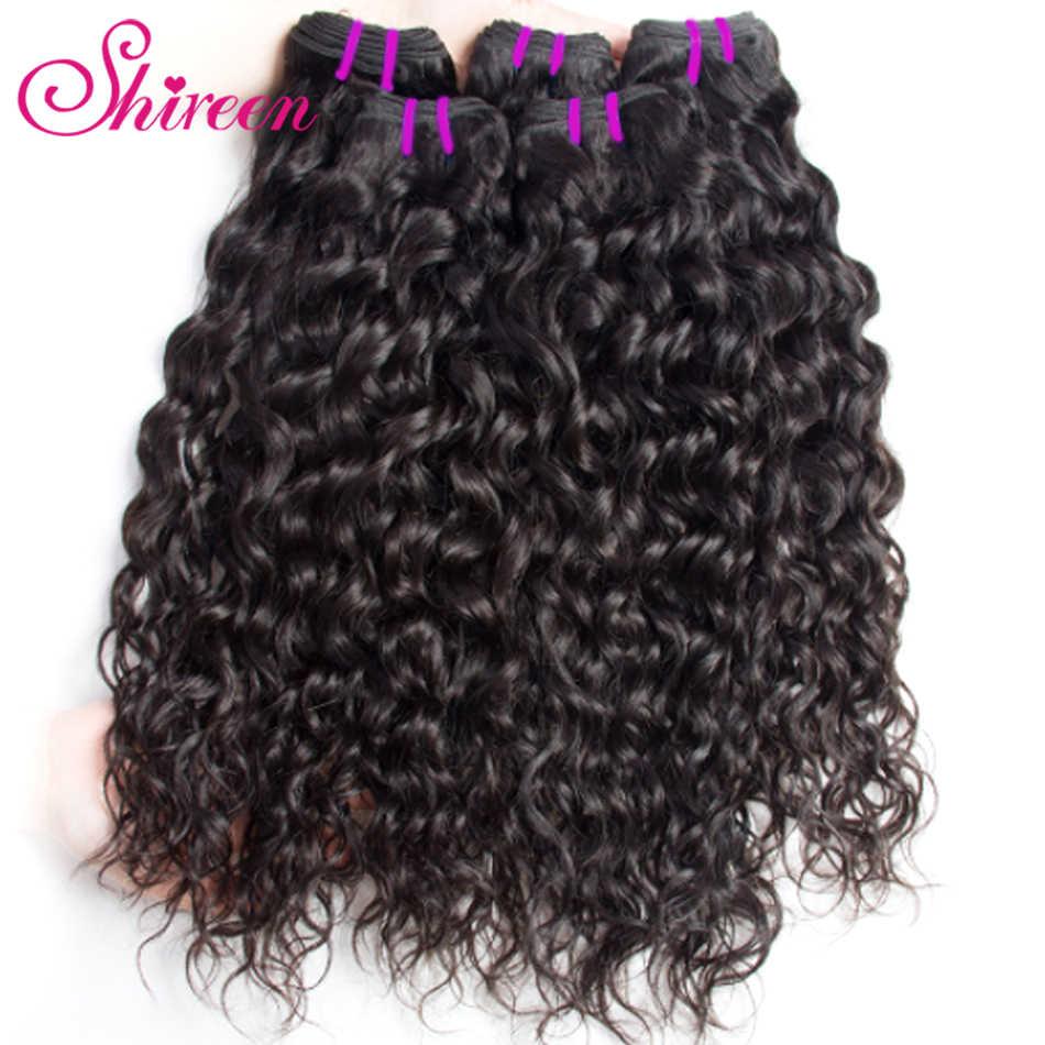 Shireen волосы волна воды пучки с бразильские волосы с закрытием переплетения пучки с закрытием Remy человеческие волосы 3 пучка с закрытием
