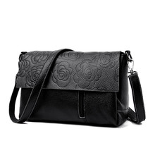 цены Embossing Floral Women Shoulder Bag Genuine Cow Leather Luxury Female Handbag Cross body Hand Bag for Ladies Small Messenger Bag