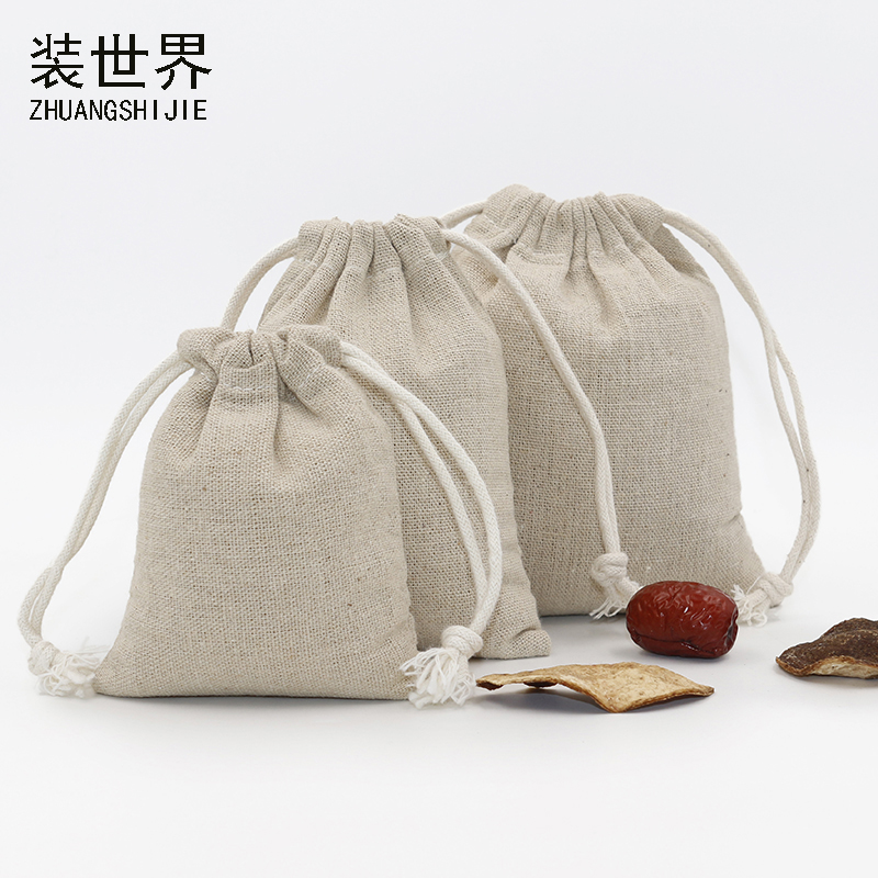 5pcs/lot 9cm*11cm Custom Logo Print  Cotton Linen Bag Pouch Wholesale Drawstring Bags Jewelry Food  Gifts Bags