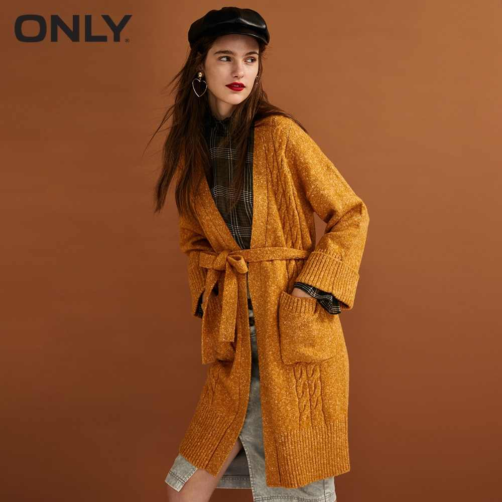 ONLY Women's autumn new cuffed color lace-up sweater | 11833B507