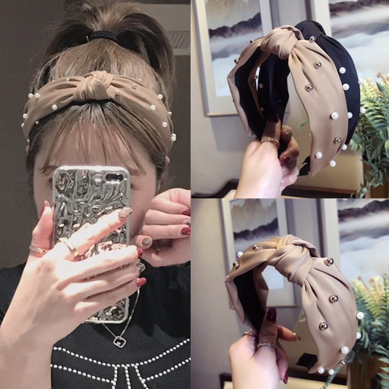 New Product hair accessories women's satin fabric beaded middle knotted wide-brimmed headband headband fashion hairband headwear