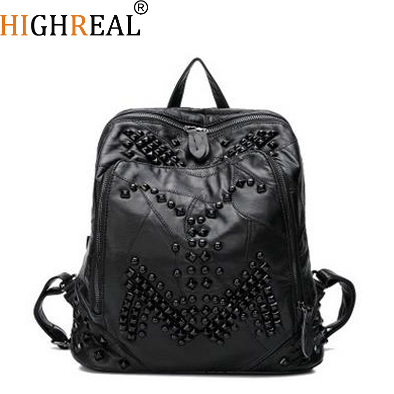 HIGHREAL Brand Design Cowhide Women School Bags Ladies Travel Mochila Feminina Genuine Leather Solid Laptop Women Backpack