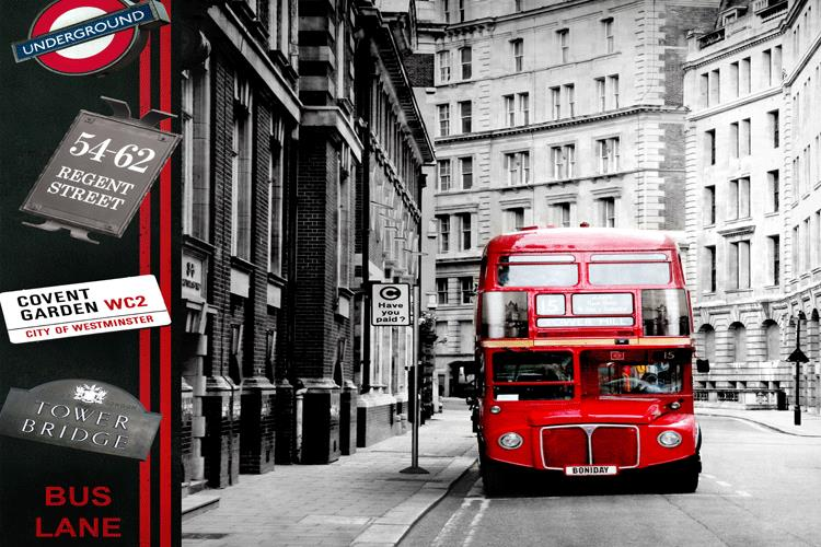 Buy photo wallpaper european style theme for Black and white london mural wallpaper