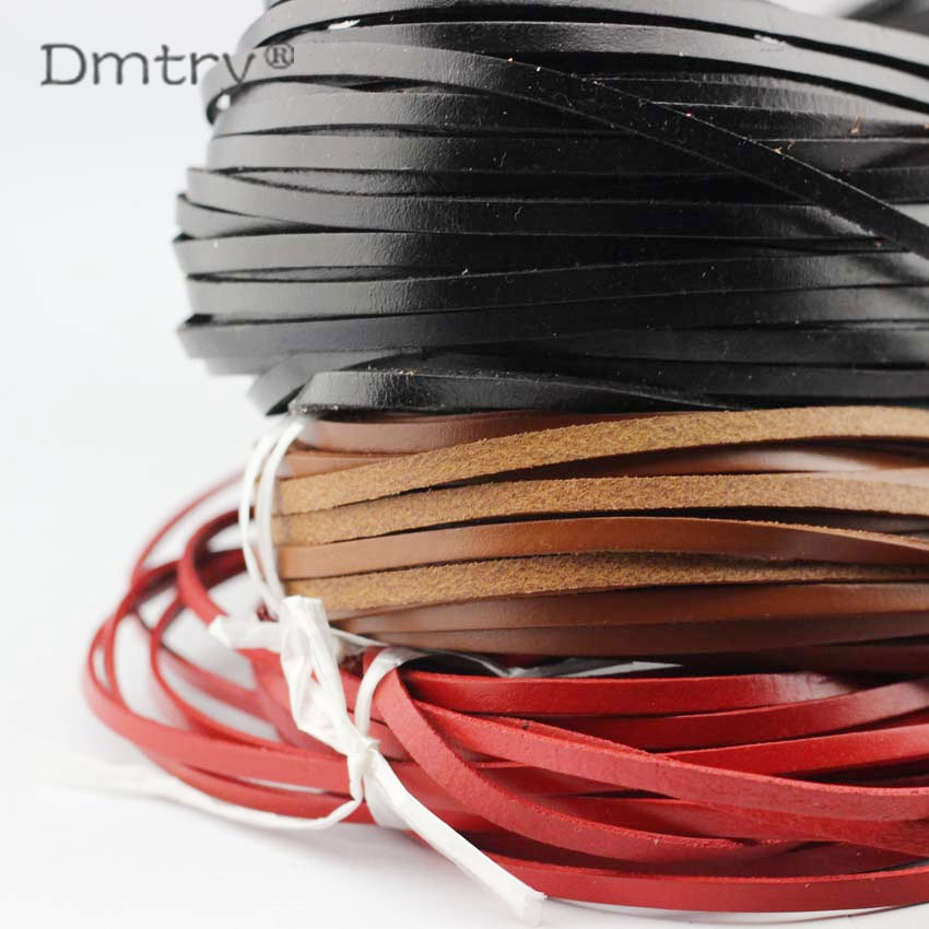Anslow 3meter/lot 5*2MM Handmade DIY Flat Genuine Leather Cord For Diy Bracelet Necklace Jewelry Rope Cord LT0008