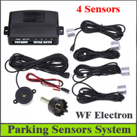 Factory Price 12V Car Parking system Reverse Backup Radar Sound Alert + 4 Sensors silver or Black free shipping Wholesale R2