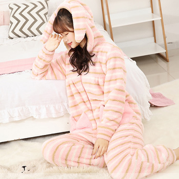 Winter Striped Pajamas Thicker Coral Velvet Cute One Piece Pajamas Rabbit Earrings Students Home Onesies