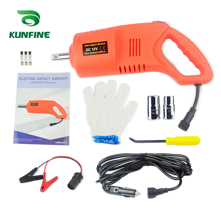 KUNFINE Electric Wrench Impact Socket Wrench DC12V Max.Torque 480N.M Hand Drill Installation Power Tools