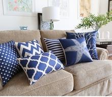 Océano Estrella de Mar de Coral Árbol Personalizado Serie Ondulado Geométrico de Punto de La Raya Azul fundas de colchón Cojines de Lino de Algodón de Buena Calidad