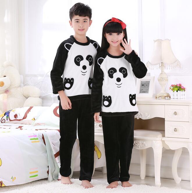 Autumn Winter Kids Pajamas set Coral fleece warm child sleepwear Flannel  fabric High quality Kids Sleeping clothes BING10 3de0d3891