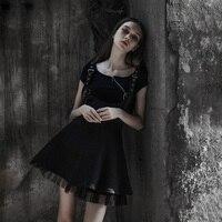 Spring and summer thin punk chiffon strap women's slim waist punk lolita A line harness steampunk vestidos summer dress