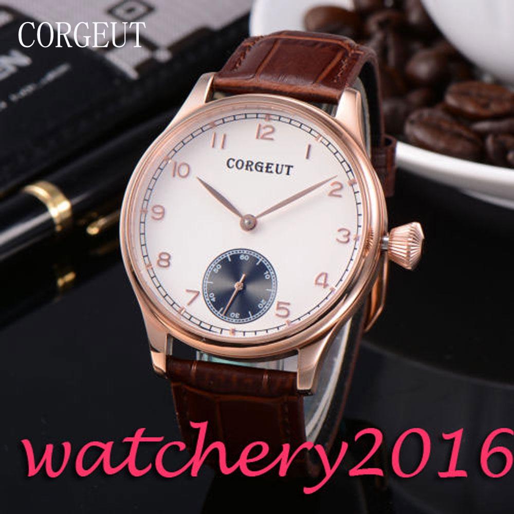 Luxury 2017 Newest Fashion Corgeut 44mm white dial Rose Case Leather Hand Winding 6498 movement Men's Mechanical Wristwatches corgeut 44mm white dial rose golden case hand winding 6498 mens watch