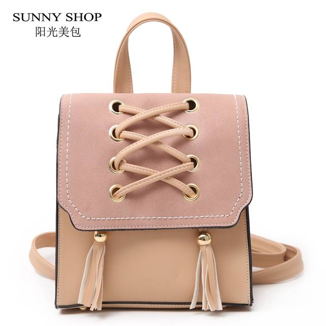 Online Shop SUNNY SHOP Simple Design Thread Tassel Square Backpack Women  2018 Cute Girls Small Bagpack School PU Leather Daypack With Flap  c09c675d0c25d