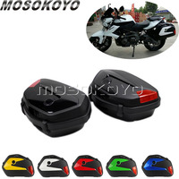 2X Motorcycle Touring 20L Side Cases Side Boxes V35 Pannier Tail Cargo for Suzuki V Storm 650 Honda CB500 Kawasaki W/Mount Rack