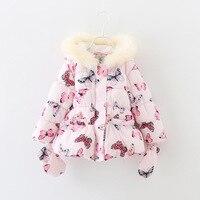 Girls Winter Floral Coat New Children Long Sleeve Hooded Butterfly Print Jacket Kids Fur Collar Warm outwear