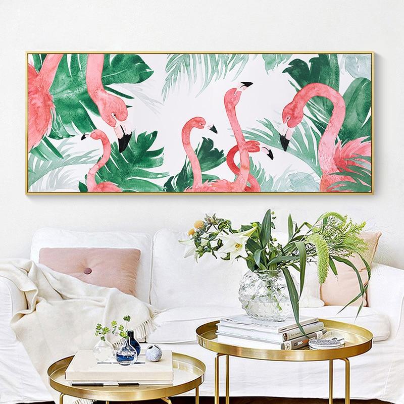 8 2 40 De Réduction Nordique Rose Flamant Rose Dans La Jungle Art Dessin Toile Animal Peinture Murale Douce Affiche Murale Pour Salon Chambre