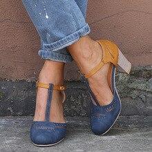 Летние женские туфли-лодочки; высокие туфли на квадратном каблуке; женские свадебные модельные туфли на платформе с круглым носком и Т-образным ремешком на квадратном каблуке; Mujer