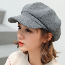 Auutmn Winter Women Cap Solid Newsboy Warm Hat Casual Wool Ladies Beret
