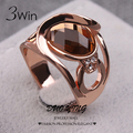 3Win Marca de qualidade da moda Anéis de Casamento Para As Mulheres de Fantasia Jóias Rose Banhado A Ouro Jóias Anel Feminino das Mulheres De Vidro Cristal Anel