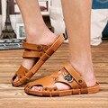Clásico Hombres Sandalias de Gladiador Remaches Sandalias De Cuero Para Hombre de Los Hombres de la Playa Zapatillas de Verano Fresco Zapatos Upstream Sandalias Diapositivas