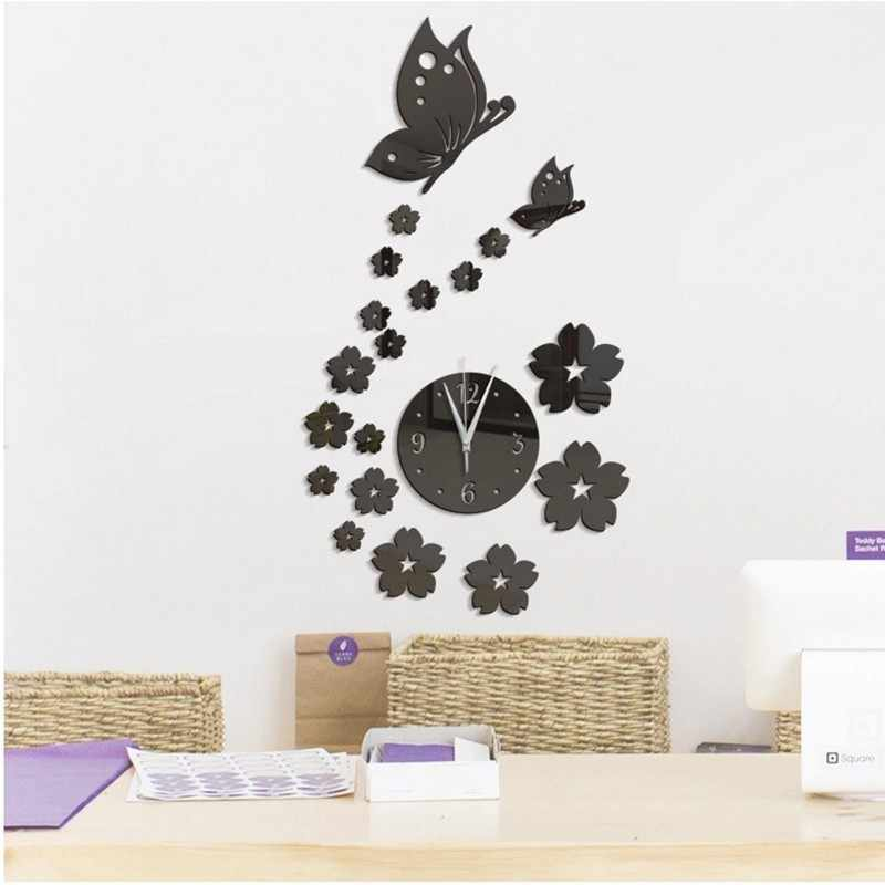 New Wall Clock 3D Acrylic Butterfly On The Wall Clock Stickers For Home Decloration Decorative Stickers Room Decor Dropshipping