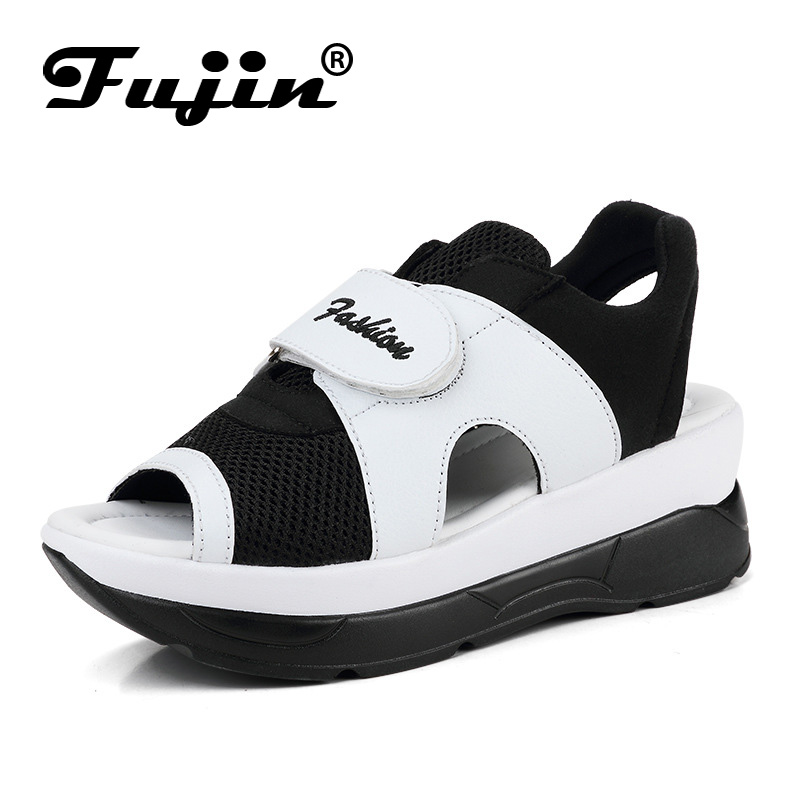 Fujin Summer Shoes Platform-Sandals Footwear High-Heel Women Brand Soft with Lady Leisure