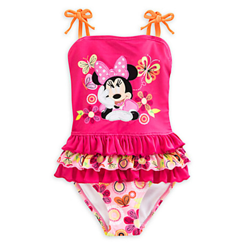 Retail Girls minne mouse swimsuit One-Piece Swimwear for children beach wear bathing suit summer UPF 50+ Mickey Swimming Suit
