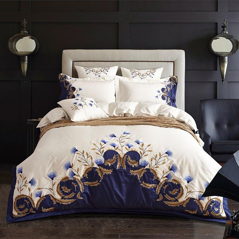 Ensemble de literie brodé blanc bleu coton égyptien ensemble de lit Royal de luxe soyeux ensemble de draps housse de couette 4 pièces taille King Queen