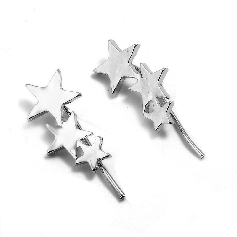 NADEEM New Fashion Trend Geometry Star Stud Earrings for Women Silver Color Metal Three Star Men Teens Stud Earrings Jewelry