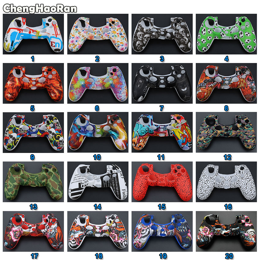 ChengHaoRan Waterproof Game Skull Rubber Skin Silicone Cover <font><b>Case</b></font> for Sony <font><b>PS4</b></font> Slim Pro <font><b>Controller</b></font> Wireless image