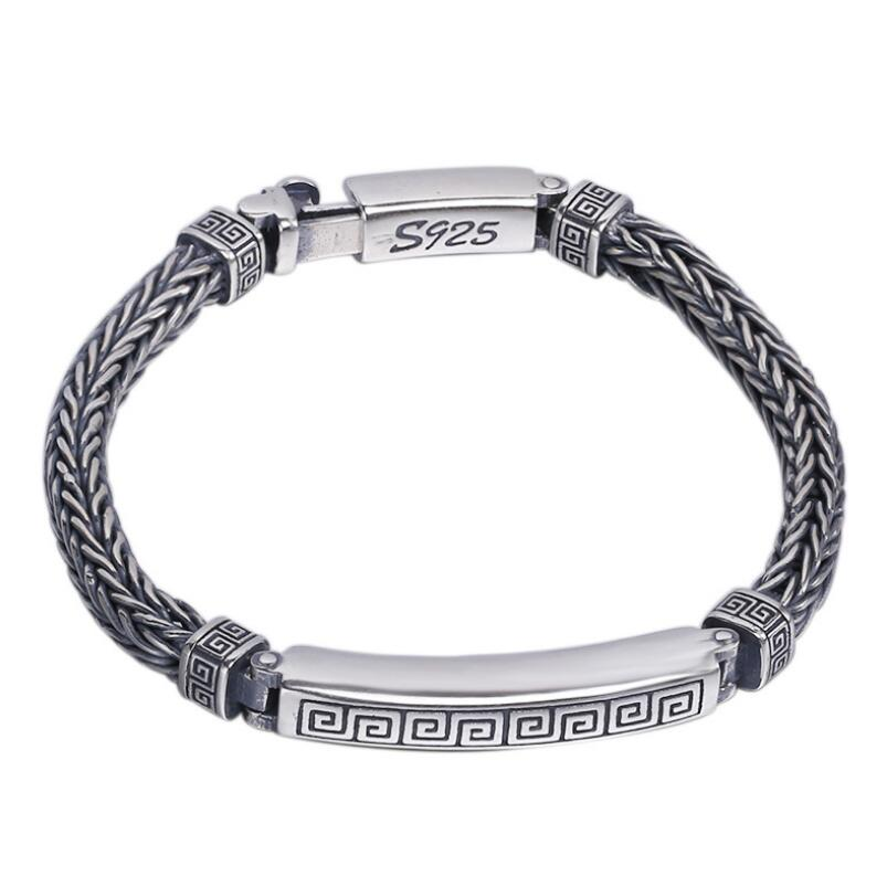 Retro Men s Woven Silver Bangle Bracelet Sterling 925 Solid silver Jewelry HY