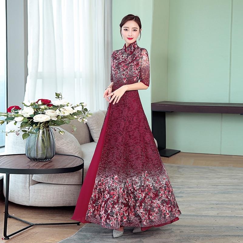 2019  Ao Dai Vietnam Traditional Long Dress Women Half Sleeve Vintage Cheongsam Novelty Robe Flower Print Elegant