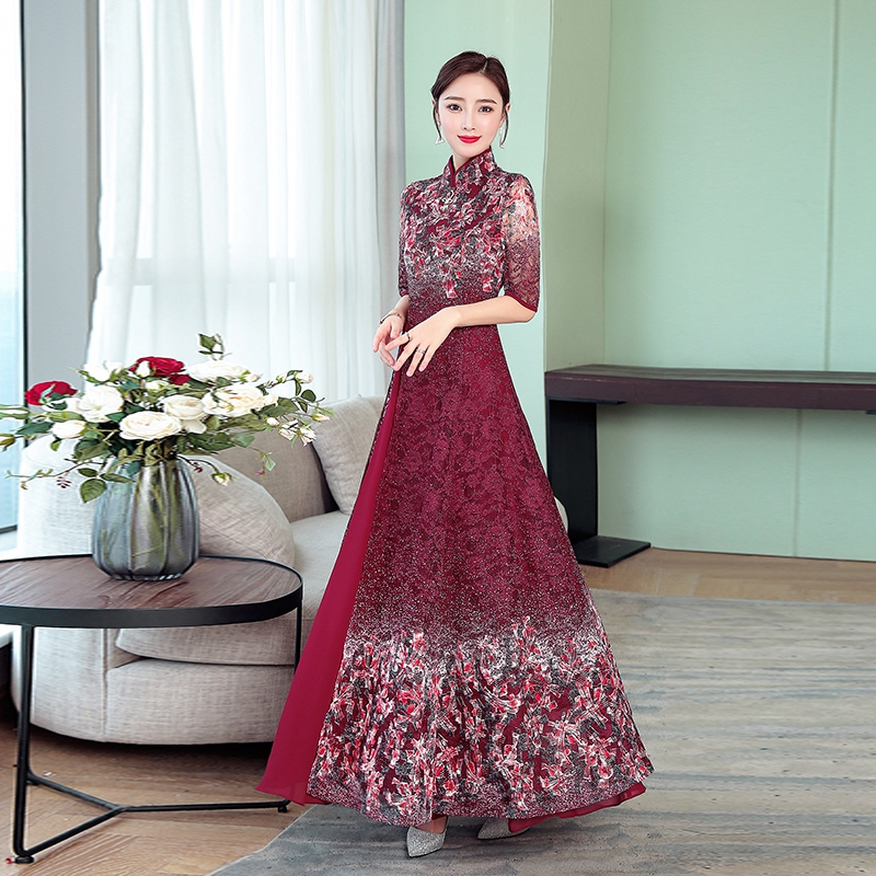 2019  Ao Dai Vietnam Vietnam Clothing Vietnam Traditional Dress Women Aodai Vintage Cheongsam Novelty Robe Flower Print Elegant