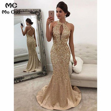 2019 Long Prom Dress with Crystals Beaded Sleeveless Satin
