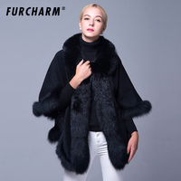 Genuine Cashmere Winter Women Fur Shawl Ponchos With Natural Fox Fur Trim Real Fur Coat Outerwear Female Pashmina