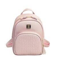 2018 New Geniune Leather Shoulder Bag Women Backpacks Crocodile Pattern Small Backpack Embossed School Bags For