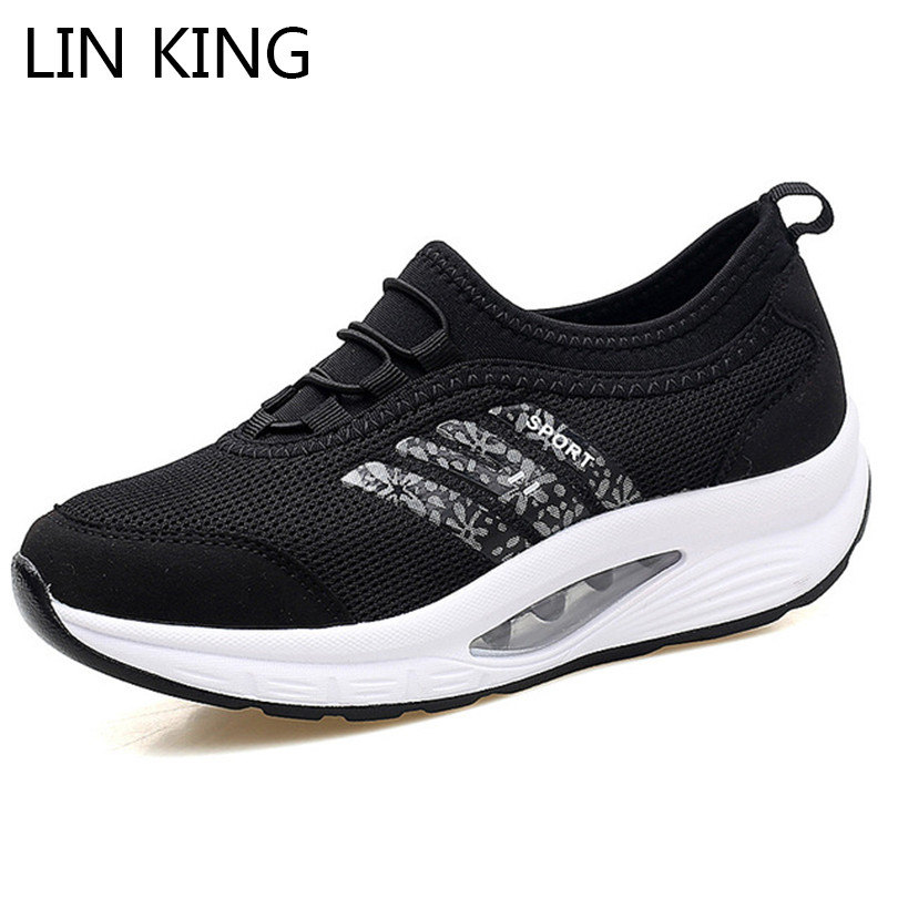 LIN KING New Women Wedges Casual Swing Shoes Thick Sole Comfortable Outdoor Sneakers Breathable Anti Skid Sports Travel Shoes
