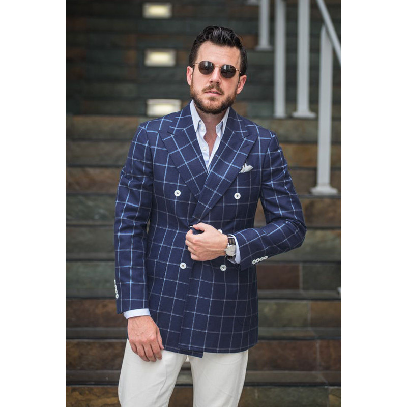 2017 sale promotion men checkered suit windowpane fashion for Custom suits and shirts