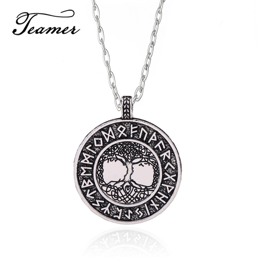 Vintage Tree Of Life Celtic Pendant Necklace Viking Jewelry Unisex Leather Chain