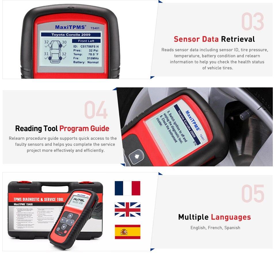 Image 4 - Autel Maxitpms TS401 TPMS Diagnostic Tool Receive 315mhz 433mhz Sensor Signals Tyre Pressure Tester Activate Relearn Sensor Tool on