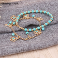 Vintage Alloy Turquoise Bead Multilayer Chain  Ankle Bracelets Bohemian Foot Jewelry Women Anklets Beach Jewelry pulsera tobille