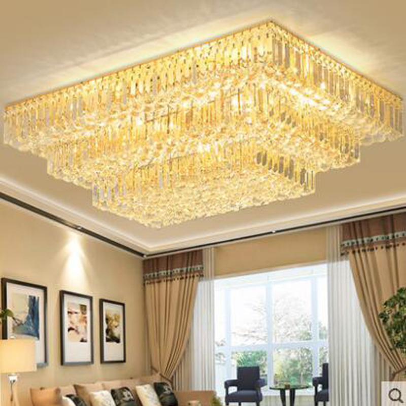 European rectangular crystal ceiling lamp living room lamp atmosphere modern bedroom ceiling lamps LED restaurant lighting lamps rectangular living room lamp modern minimalist bedroom led crystal ceiling lamps creative personality hall restaurant lighting