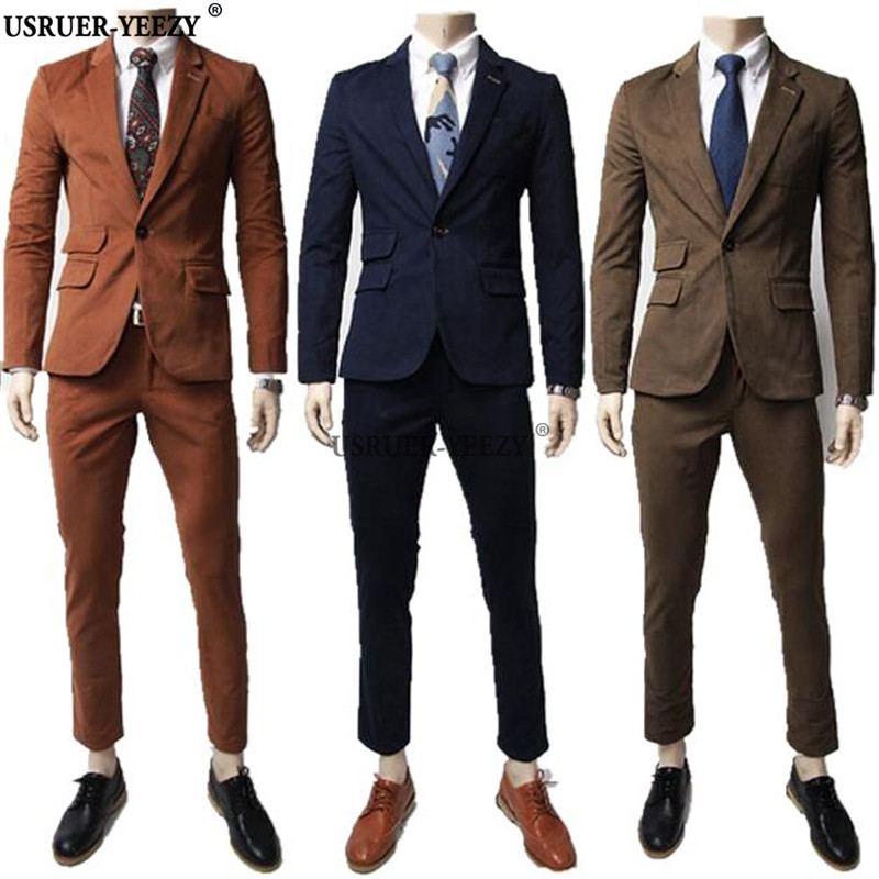 USRUER YEEZY (Jacket+Pants) 2017 New Arrival Formal Wedding Mens Suits Fashion Casual Brand ...