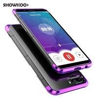 Showkoo 12ピース/ロット高品質ケース用oppo r11s電話カバーバックシルバーブラックアルミ& pc保護電話ケースcapa coque