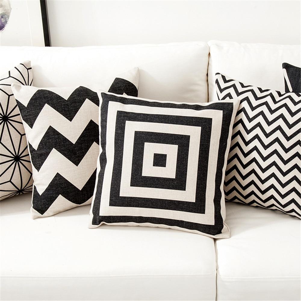 White &Amp; Black Pillow Cushion Cover Case