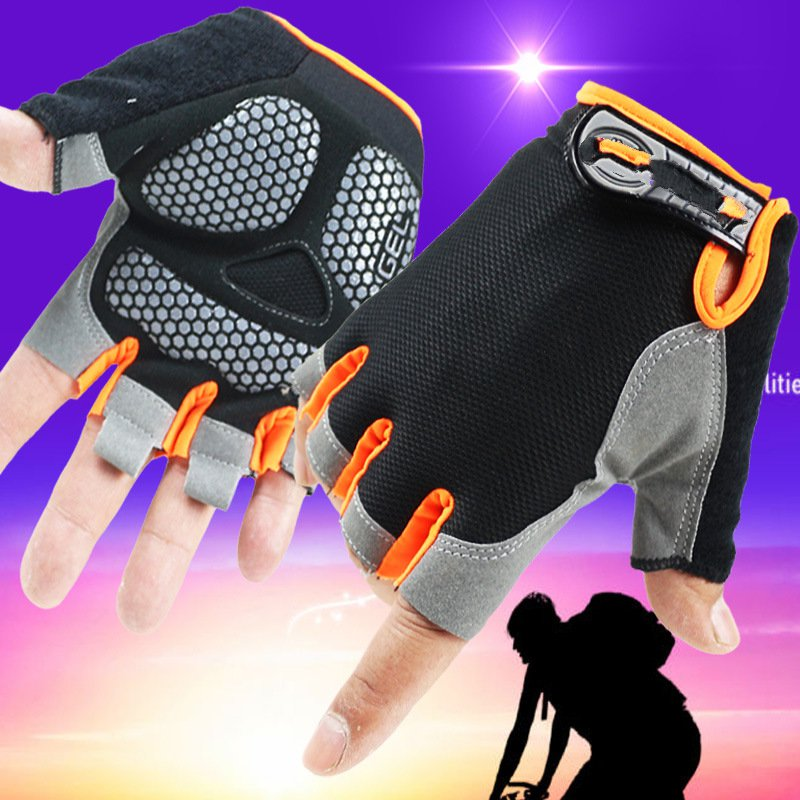 Men and women thin half - finger gloves sports sun - climbing fitness exercise fitness refers to leakage tactics ks1123 protective outdoor sports exercise and fitness half finger mesh cloth gloves black pair